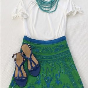 Dresses & Skirts - Cobalt and kelly/lime green sequined circle skirt